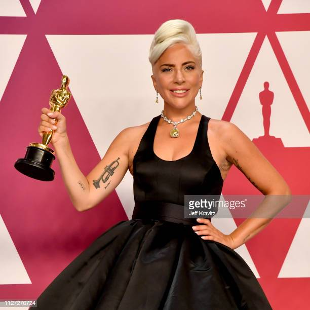 Lady Gaga winner of Best Original Song for 'Shallow' from 'A Star is Born' poses in the press room during the 91st Annual Academy Awards at Hollywood...
