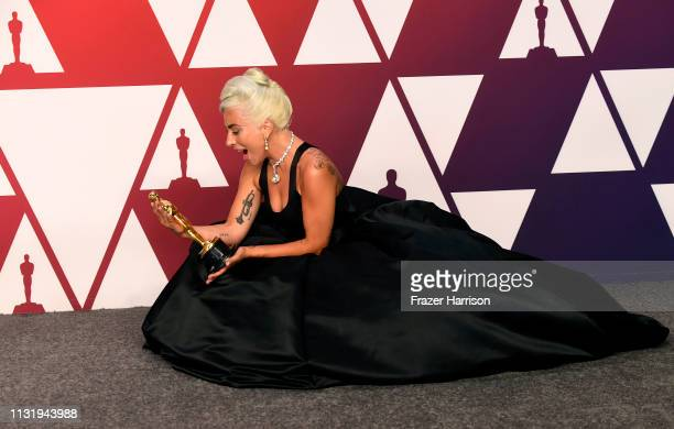 """Lady Gaga, winner of Best Original Song for """"Shallow"""" from """"A Star is Born,"""" poses in the press room during the 91st Annual Academy Awards at..."""