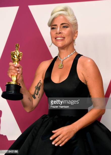 Lady Gaga winner of Best Original Song for Shallow from A Star is Born poses in the press room during the 91st Annual Academy Awards at Hollywood and...