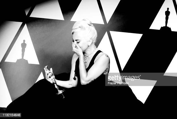 Lady Gaga winner of Best Original Song for 'Shallow' from 'A Star is Born' poses in the press room at the 91st Annual Academy Awards at Hollywood and...