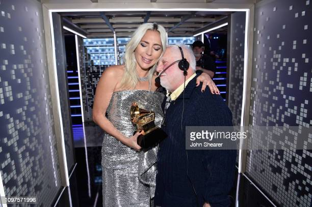 Lady Gaga winner of Best Pop Solo Performance for 'Joanne ' poses with Kenneth Ehrlich backstage during the 61st Annual GRAMMY Awards at Staples...