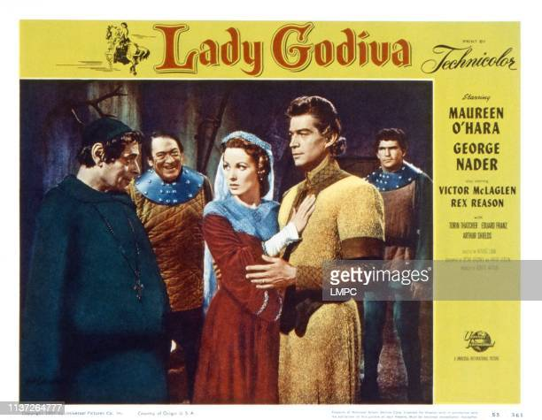 Lady Godiva Of Coventry lobbycard from left Anthony eustrel Victor McLaglen Maureen O'Hara George Nader 1955