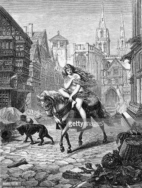 Lady Godiva Wife of Leofric Earl of Mercia AngloSaxon gentlewoman patron of the arts equestrienne and tax protester Wood engraving American 1866
