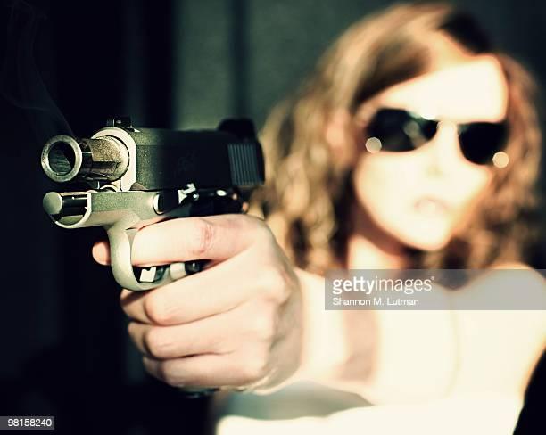 Lady has a gun