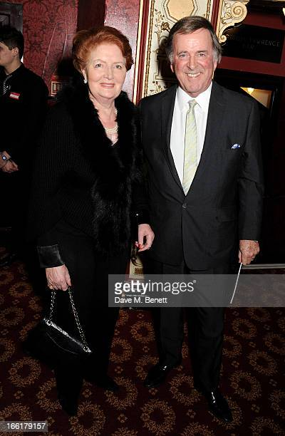 Lady Helen Joyce and Sir Terry Wogan pose in the foyer following the press night performance of 'Once' at the Phoenix Theatre on April 9 2013 in...