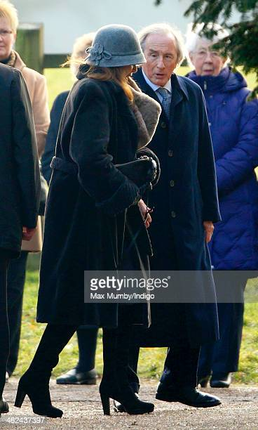 Lady Helen Stewart and Sir Jackie Stewart arrive at St Mary Magdalene Church Sandringham to attend Sunday service with Queen Elizabeth II and Prince...