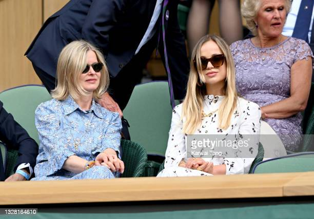 Lady Helen Taylor and Lady Amelia Windsor attend Wimbledon Championships Tennis Tournament at All England Lawn Tennis and Croquet Club on July 11,...