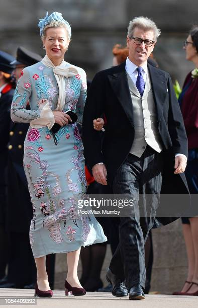 Lady Helen Taylor and Timothy Taylor attends the wedding of Princess Eugenie of York and Jack Brooksbank at St George's Chapel on October 12 2018 in...
