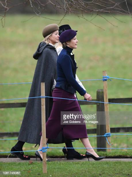 Lady Helen Taylor arriving to attend a church service at St Mary Magdalene Church in Sandringham Norfolk