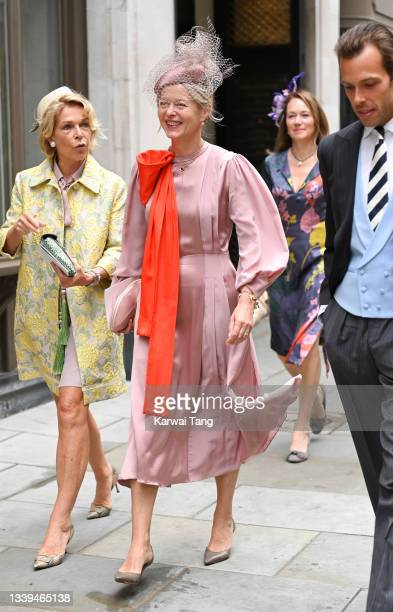 Lady Helen Taylor attends Flora Alexandra Ogilvy and Timothy Vesterberg's marriage blessing at St James's Piccadilly on September 10, 2021 in London,...