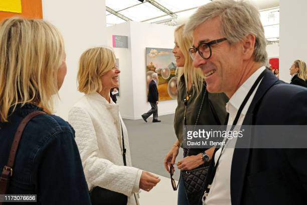 Lady Helen Taylor, Claudia Schiffer and Tim Taylor attend the Frieze Art Fair VIP Preview in Regent's Park on October 2, 2019 in London, England.