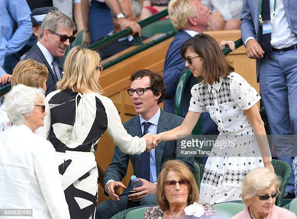 Lady Helen Taylor Timothy Taylor Benedict Cumberbatch and Sophie Hunter attend the Men's Final of the Wimbledon Tennis Championships between Milos...
