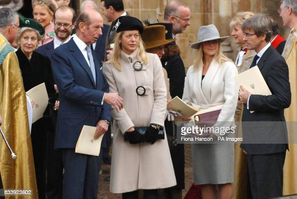 Lady Helen Windsor and her father the Duke of Kent leave Westminster Abbey London after a service of celebration to mark the diamond wedding...