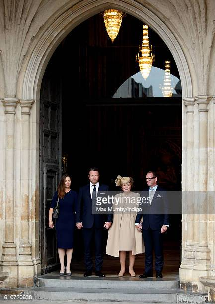 Lady Helen Wogan accompanied by her children Katherine Wogan Alan Wogan and Mark Wogan attends a memorial service for her late husband Sir Terry...