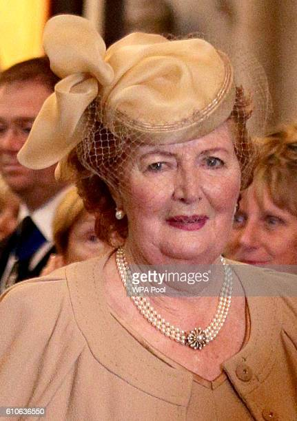 Lady Helen Wogan the widow of Sir Terry Wogan as she leaves Westminster Abbey during a memorial service for the late Sir Terry Wogan at Westminster...