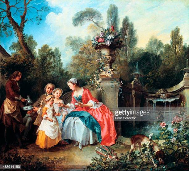 'A Lady in a Garden taking Coffee with some Children' probably 1742 From the National Gallery London