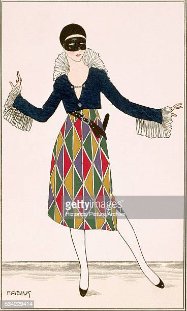 Lady in a Masked Harlequin Ball Costume 1914
