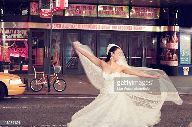 Lady in a wedding dress gets into the spirit during the Royal Wedding of Prince William to Catherine Middleton, on April 29, 2011 in New York. The...