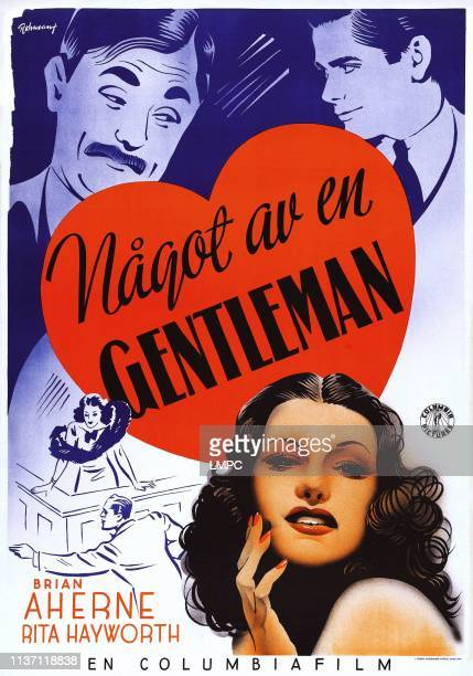 Lady In Question poster top lr Brian Aherne Glenn Ford bottom Rita Hayworth on Swedish poster art 1940
