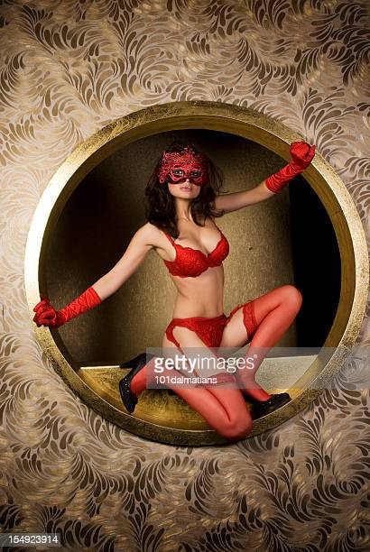 lady in red - garter belt models stock pictures, royalty-free photos & images