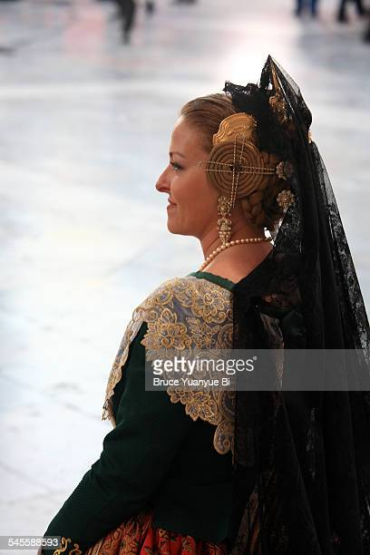 A lady in traditional Las Fallas Festival dress