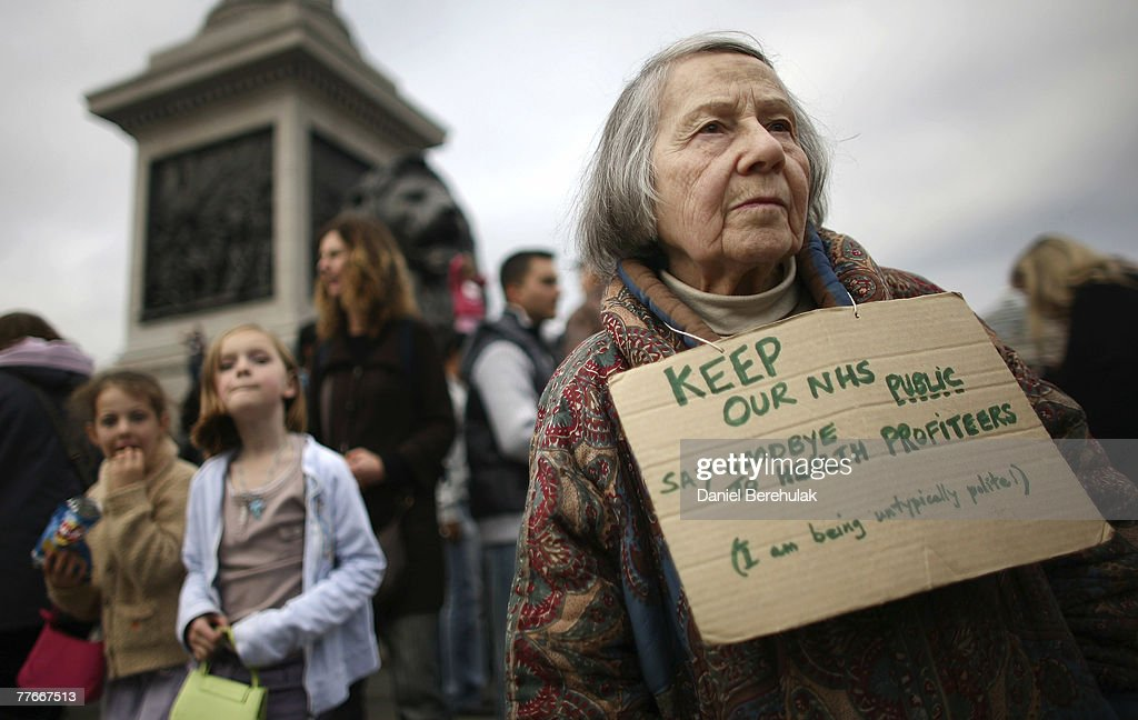 A lady in Trafalgar Square during an National Health Service rally on November 3, 2007 in London, England. Thousands of NHS workers marched to protest the state of the country's national health service.