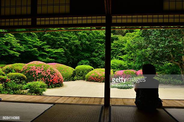 CONTENT] A lady is meditating at the Hermitage Shisendo in Kyoto overlooking the beautiful garden with azaleas in full bloom