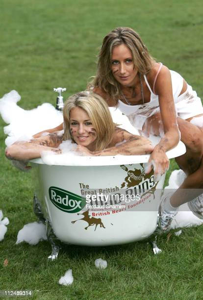 Lady Isabella Hervey and Lady Victoria Hervey during The Radox Great British Mud Run Photocall in London Great Britain
