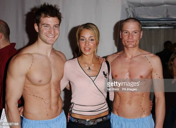 Lady Isabella Hervey with two male models during LIVING tv's botox party