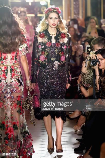 Lady Isabella HerveyBathurst walks the Dolce Gabbana Italian Christmas catwalk show at Harrods on November 2 2017 in London England