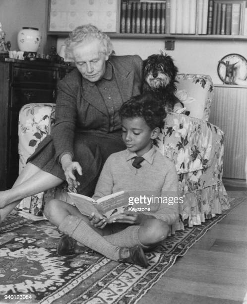 Lady Isobel Cripps widow of statesman Sir Stafford Cripps with her grandson Kwame Anthony Appiah in her home in Gloucestershire 6th May 1962 Kwame is...