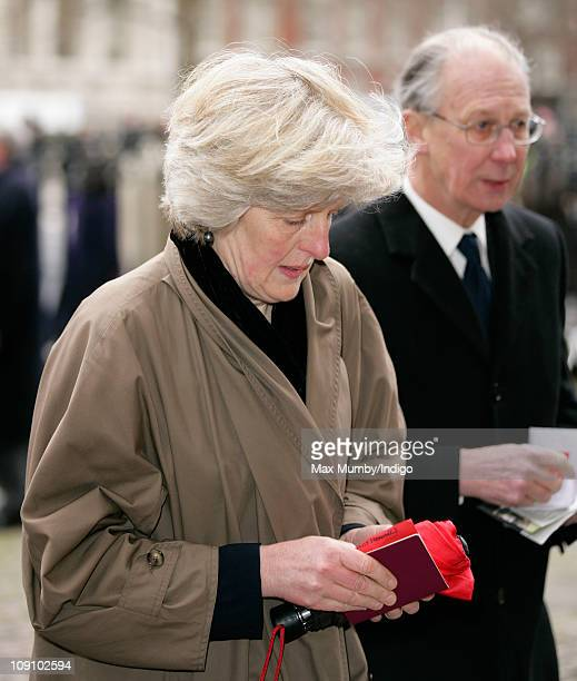 Lady Jane Fellowes and Robert Fellowes attend a Service of Thanksgiving for opera singer Dame Joan Sutherland at Westminster Abbey on February 15...