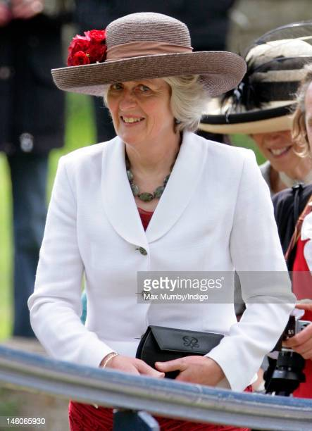 Lady Jane Fellowes attends the wedding of her neice Emily McCorquodale and James Hutt at The Church of St Andrew and St Mary Stoke Rochford on June 9...