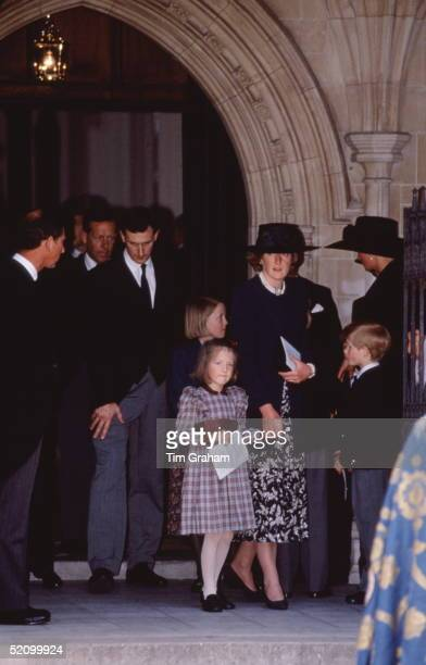 Lady Jane Fellowes With Her Daughters Laura And Eleanor Leaving The Memorial Service At St Margaret's Church Westminster Abbey For The Late Earl...