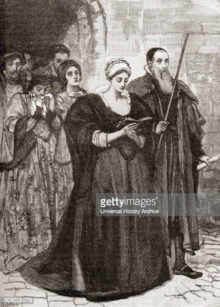Lady Jane Grey on her way to the scaffold after being convicted of high treason Lady Jane Grey c1536– 1554 aka Lady Jane Dudley or the Nine Days'...