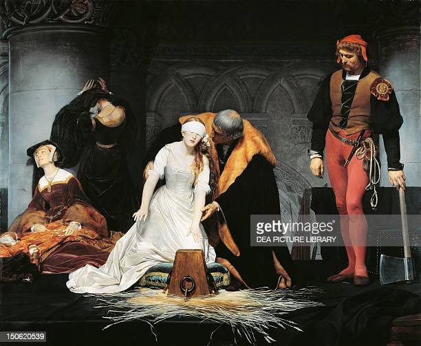 Lady Jane Grey's execution painting by Paul Delaroche oil on canvas 246x297 cm Tudor England 16th century
