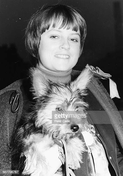 Lady Jane Wellesley and her dog Napoleon arriving to vote in the general election at Gilstead Road Fulham October 20th 1974