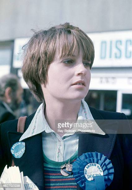 Lady Jane Wellesley campaigning in the General Election for her brother the Marquess of Douro in Archway Islington North London on 28th September 1974