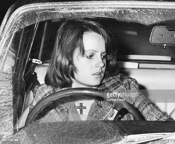 Lady Jane Wellesley in her car arriving home from Sandringham after meeting Prince Charles Fulham London January 1st 1974