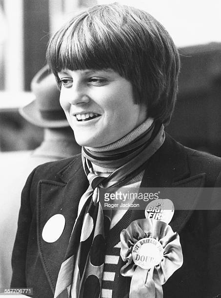 Lady Jane Wellesley wearing rosettes in support of her brother Charles during the election during a tour of Islington London October 8th 1974