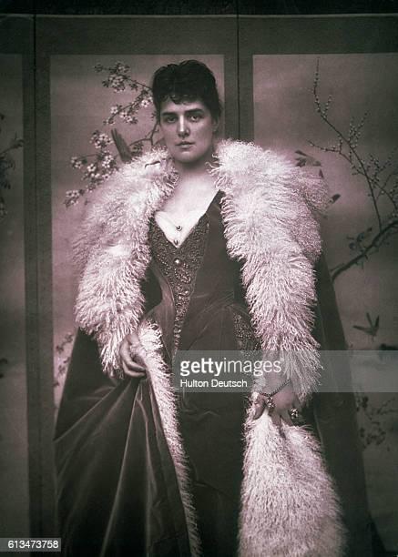 Lady Jennie Churchill in a long furlined cloak 1888