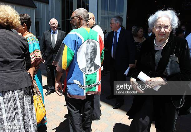 Lady June Hillary leaves the Nelson Mandela memorial service at Holy Trinity Cathedral on December 13 2013 in Auckland New Zealand Mr Mandela passed...
