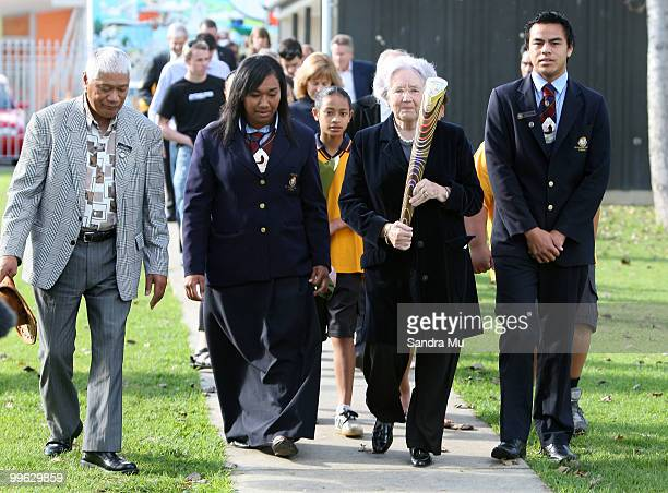 Lady June Hillary walks with the Queen's Baton before handing it over to students as part of the Delhi 2010 Commonwealth Games Queen's Baton relay at...