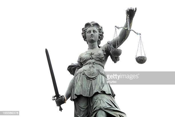 lady justice against white sky - equal arm balance stock pictures, royalty-free photos & images