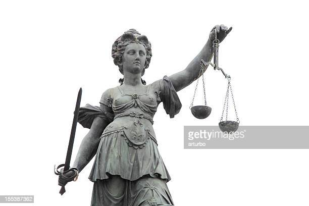 Lady Justice against white sky