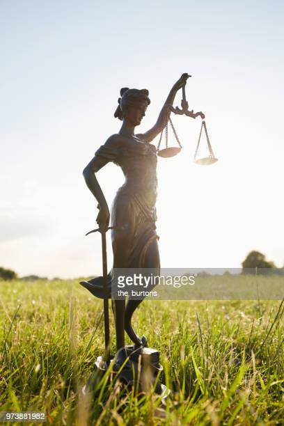 Lady Justice on meadow against clear sky