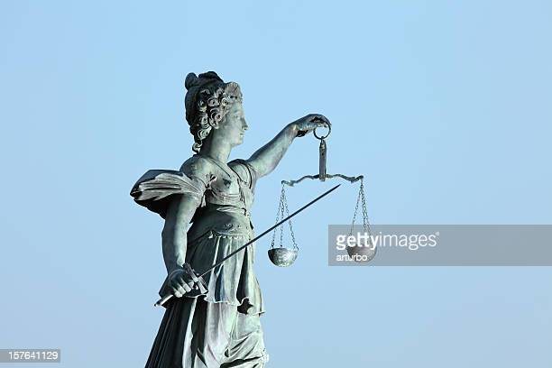 Lady Justice statue with sword and scale