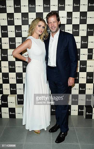 Lady Kitty Spencer and a guest attend the Serpentine Future Contemporaries x Harrods Party 2016 at The Serpentine Sackler Gallery on February 20 2016...