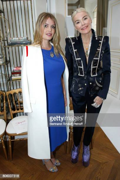 Lady Kitty Spencer and Daphne Guinness attend the Schiaparelli Haute Couture Fall/Winter 20172018 show as part of Haute Couture Paris Fashion Week on...