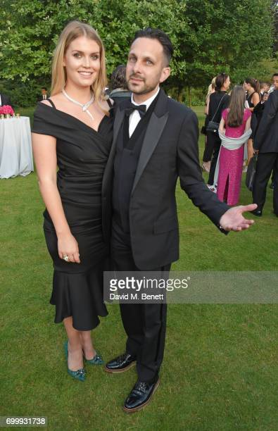 Lady Kitty Spencer and Dynamo attend the Woodside Gallery Dinner in benefit of Elton John AIDS Foundation in partnership with BVLGARI at Woodside on...